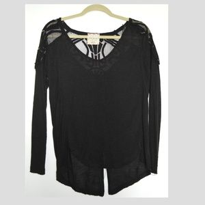 Free People Long Sleeve Black Shirt